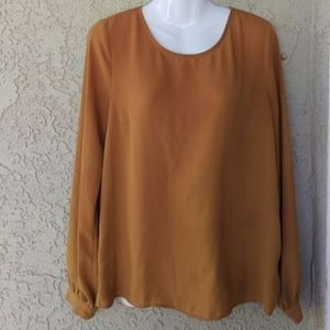 Forever 21 chiffon gold tied back long sleeve top
